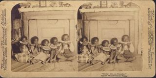 Children Eating Watermelon Black Americana Stereoview Photo 1892