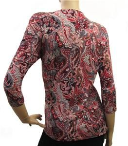Inc International Concepts Red Gray Black Paisley Shirt Top 3X