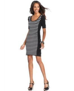 INC International Concepts Dress, Short Sleeve Striped Sweater Dress