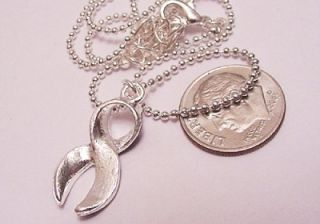 Purple Awareness Ribbon Lupus Silver Charm Necklace