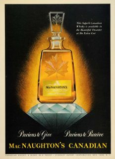 1952 Ad MacNaughton Canadian Whisky Schenley Decanter   ORIGINAL