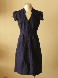Anthropologie Maeve Navy Blue Striped Cotton Pleated Shirt Dress M