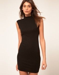 ASOS Black Dress Teardrop Cutout Back Ribbed Bodycon Party Chic Sexy M