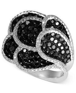 EFFY 14k White Gold Ring, Black and White Diamond Petal Ring (2 1/3 ct