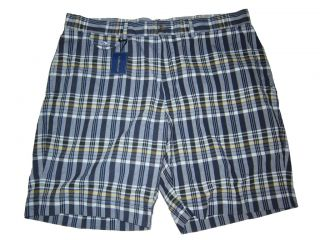 Ralph Lauren Polo India Madras Flat Front 36 Chino Shorts Blue Plaid