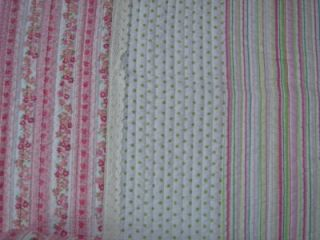 Maggie Miller Twin Quilt Sham Pink Dots Stripes Flowers