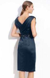 Maggy London Beaded Stretch Satin Sarong Dress