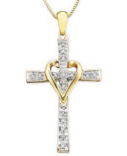 Diamond Necklace, 14k Gold and Cross Diamond Pendant (1/10 ct. t.w