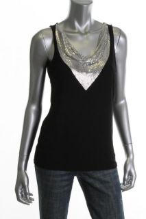 Michael Kors New Black Matte Jersey Chain Mesh Sleeveless Pullover Top