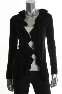 MAGASCHONI New Black Ruffled Open Front Long Sleeves Cardigan Sweater