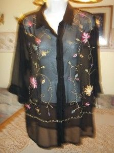 April Cornell Black w Embroidery Sheer Tunic Blouse L