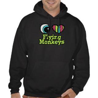 Bright Eye Heart I Love Flying Monkeys Hooded Pullover