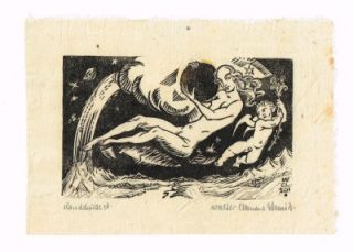 Libris German Artist Walter C. Schmidt Original Woodcut Cherubs Angels