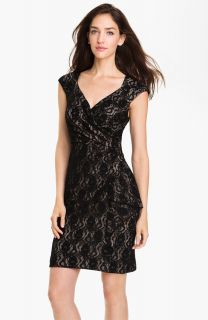 Maggy London Surplice Front Drape Black Lace Sheath Dress Cocktail 16