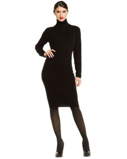 MAGASCHONI Black Cashmere Turtleneck Sweater Dress