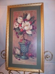 RARE Home Interior Homco Large White Magnolia Picture 30 x 17