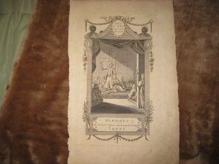 Antique 1778 Mahomet Irene Turkish Turkey Islam Muslim Copperplate