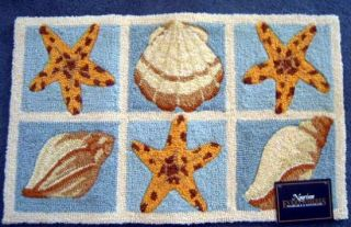 Seashells Throw Rug Nautical Beach Decor Blues Starfish Hooked