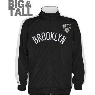 Brooklyn Nets Black White Big Tall Tricot Track Jacket