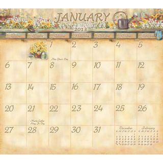 Cottage Garden 2013 Magnetic Mount Wall Calendar