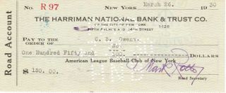 Brick Owens Signed Check Umpire D 1949 Babe Ruth