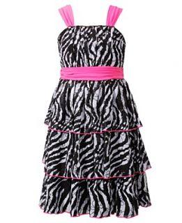 Bloome Kids Dress, Girls Plus Size Tiered Zebra Dress