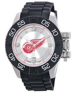 Game Time Watch, Mens Detroit Red Wings Black Polyurethane Strap 47mm