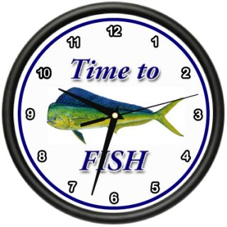 Time to Fish Dolphin Wall Clock Fisher Fisherman Mahi Mahi Boat Gift