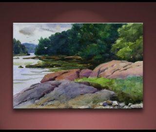 Shore Rocks Waldoboro Maine Landscape Painting Bechler