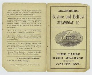 Steamboat 1904 Time Table Islesboro Belfast Maine