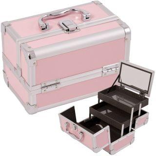Makeup Accessories Cosmetic Organizer Aluminum Case w Mirror M01 Pink