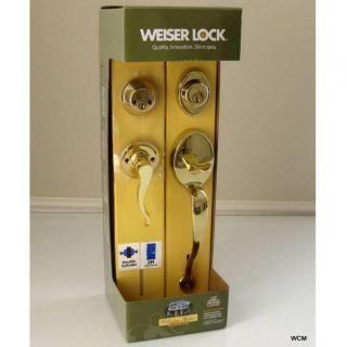 Deadbolt Polished Brass LH Entry Door Handle Solid Brass