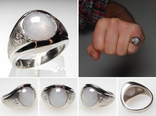 Gray Star Sapphire & Diamond Mens Ring Solid 14K White Gold skuwm6348