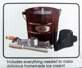 New1 Gallon 4 Quart Ice Cream Maker Aroma Wood Bucket Hand Crank or