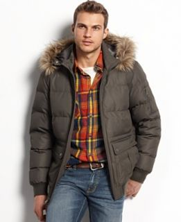 Buffalo David Bitton Coat, Tech Dobby Hooded Puffer Coat
