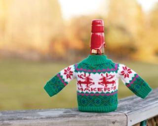 New Makers Mark Whiskey Wine Bottle Christmas Knit Holiday Sweater