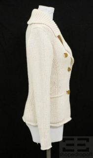 By Malene Birger Cream Knit Button Front Sweater Size Small