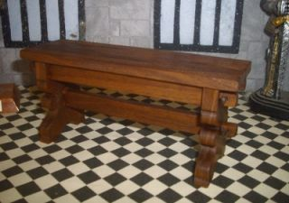 Dolls House Long Narrow Tudor Medieval Banquet Refectory Table Walnut