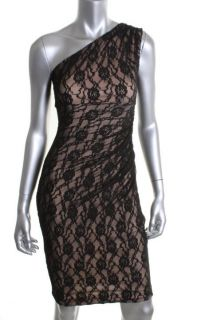 Maggy London New Black Lace One Shoulder Cocktail Evening Dress