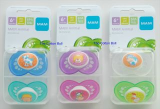 New MAM Baby Pacifiers Boy Girl 6 M Animals 3 Styles