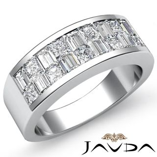 Invisible Set Diamond Men Wedding Band 18K Gold White Ring 1 4