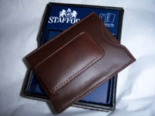 Leather Magnetic Money Clip Wallet Valet Box Brown