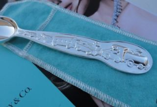 Authentic Tiffany Co 925 Silver Baby Infant Train Teddy Bear Spoon