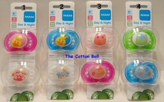 New MAM Baby Pacifiers Boy Girl 6 M Day Night Glow