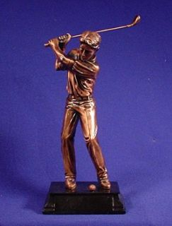 Pro Male Golfer Golf Trophy Copper Metal Finish Figurine Statue