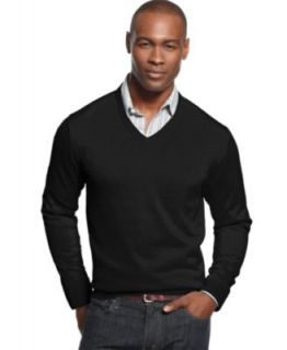 Club Room Big and Tall Sweater, Merino Wool Blend Solid V Neck Sweater