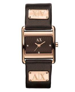 Armani Exchange Watch, Womens Dark Brown Leather Strap 22x26mm