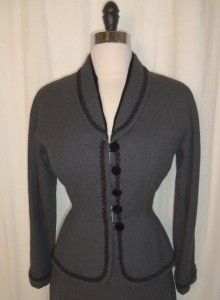 Press Vtg 40s 50s Wool Gray Black Velvet Trim Suit Jacket Skirt