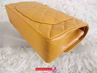 Super Rare Color CHANEL 2.55 Mango Yellow Small Caviar Quilted Double