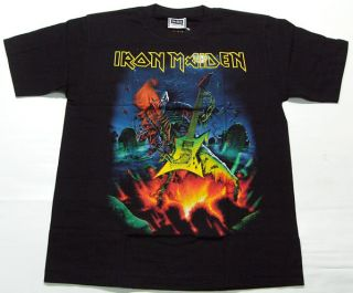 Vintage Rock Music Iron Maiden Guitar T Shirt M L XL